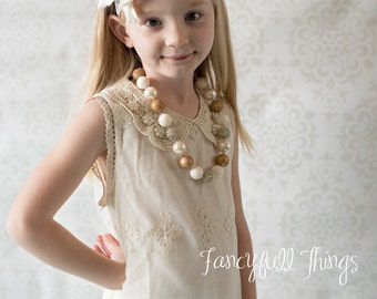 lace and pearls girls ivory dress