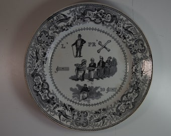 Antique Riddle Rebus French Plate Dessert Plate