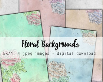 """Digital Images - Digital Collage Sheet Download - Rose Backgrounds 5x7"""" -  1206  - Digital Paper - Instant Download Printables"""