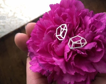 YOU'RE A GEM a pair of silver metal cut out crystal stone gem shaped studs light weight nickel free