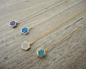 Druzy Necklace, Druzy Hexagon Bezel Pendant Necklace, 14K Gold Filled Necklace, Sterling Silver Necklace, Druzy Jewelry Gifts For Her,