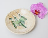Lavender Flowers Nature's Botanical Pottery Bowl in Greens and Purple, Ceramic Ring Jewelry Bowl Soap Dish Serving Bowl Unique UK Ceramics
