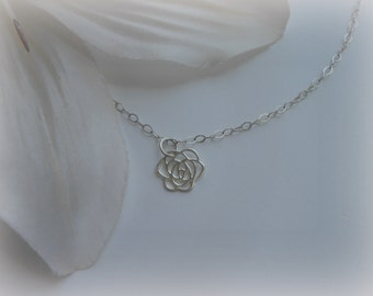 Flower Girl Gift, Tiny Rose Necklace, Sterling Silver, Flower Necklace, Gifts for Flower Girls, Wedding Jewelry, Bridal Party Gifts