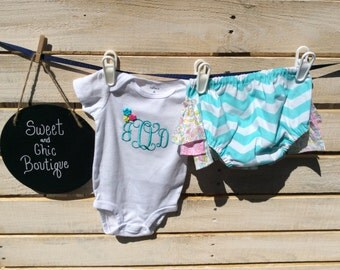 Girl Monogramed Outfit, Ruffle Diaper Cover, Diaper Cover Outift