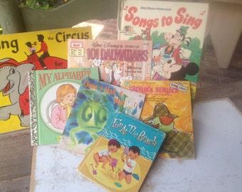 Mixed Lot Vintage Childrens Books, Vintage Pape Ephemera, Vintage Paper Crafting Supplies