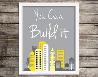 You can Build it Digital Modern Kids Wall Art.  Digger Wall Decor ~ Digital Download.