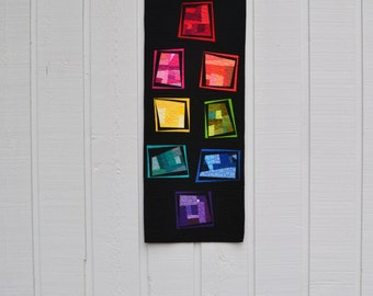 Rainbow Table Runner, Table Decor, Geometric Table Runner, Modern Wall Hanging, Quilted Wall Hanging, Modern Table Runner