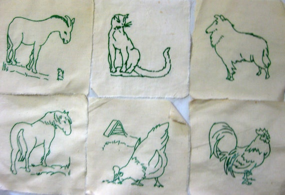 Vintage hand embroidered farm animals quilt squares horse
