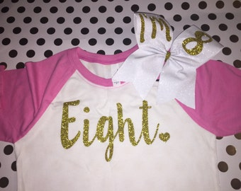 IM 8 EIGHT WITH cheer bow girls raglan T choose number if youd like birthday girl  glitter initials kid toddler child