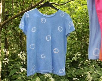 Tie Dye Polka Dot Spotty T-Shirt in Sky Blue, Hand-Dyed 100% Cotton T Shirt, Hippie Boho Festival. Size S