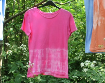 Custom Tie Dye Tee in Bright Pink, Festival T Shirt, Hand-Dyed 100% Cotton. Hippy Boho Festival. Size L