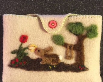 Lovely Needle Felted Easter Bunny Pocket