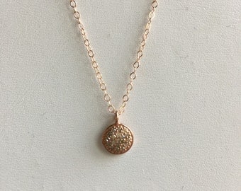 Rose gold pave disc
