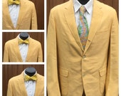 VINTAGE 1960 Butter Yellow 3 Button  Blazer / Sports Coat - Size 42 - Ivy League Cool - PREPPY