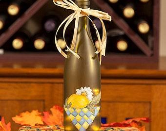 Lighted Wine Bottle Lamp  - Hand Painted Lemon Daisy Housewarming Gift Accent Lighting Hostess Gift Night Light