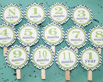 PREPPY CHEVRON ALLIGATOR 1st Birthday Photo Clips Banner Newborn - 12 months Lime Green Navy