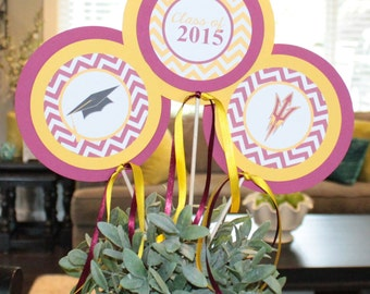 COLLEGE UNIVERSITY GRADUATION Party Centerpiece Sticks {Set of 3} You Pick Colors (Pick Your School) - Party Packs Available