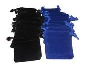 "Small velvet bags, 10pcs either blue or black choice, drawstring 2 1/4"" X 2 1/4"", jewelry, wedding, rocks pouch, velveteen velour gift bag"
