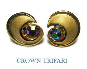 Crown Trifari AB earrings, aurora borealis ruby red rhinestone half moon earrings 1955  Mad Men, gold plated