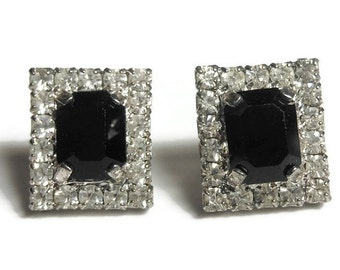 Rectangular rhinestone earrings, small faux onyx prong set baguette surrounded by prong set rhinestones, post earrings