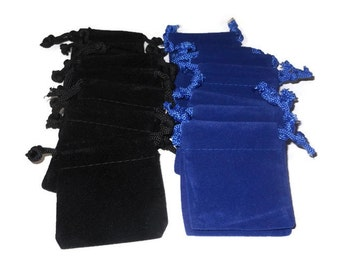 "Small velvet bags, 10pcs either blue or black choice, drawstring 2 1/4"" X 2 1/4"", jewelry, wedding, rocks pouch, velveteen velour gift bag"