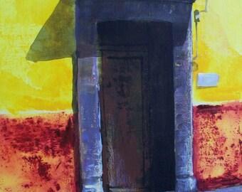 "Original painting of old wooden door with in San Miguel de Allende yellow wall acrylic art on board 11 ""x 14"""