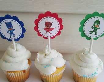 Pj Masks cupcake toppers, party decoration