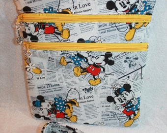 Handcrafted Crossbody Bag-  Mickey Mouse - Minnie Themed Fabric  Adj Strap