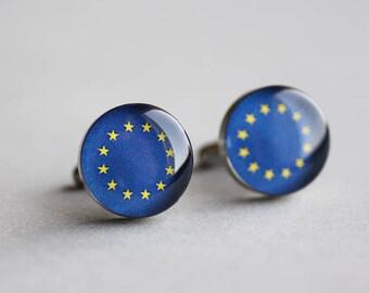 EU Flag cuff link, Surgical steel cuff, European Union cufflink, Wedding cuff links for groom, groomsmen, Mens cufflinks