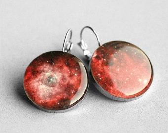 Dangle earrings, Stardust, Nebula, Space earring, French clip earring, Universe Leverback earring