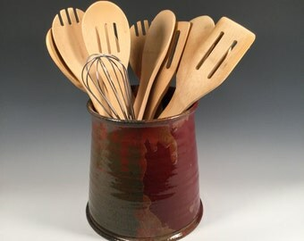 Pottery Kitchen Utensil Holder - Ceramic Wine Chiller  - Red Jasper - Ready to Ship - ceramics - pottery- stoneware