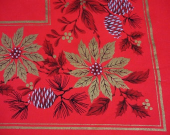 """Christmas Tablecloth of Red With Metallic Gold and Silver Cones and Poinsettias 48"""" x 64"""" Unused"""
