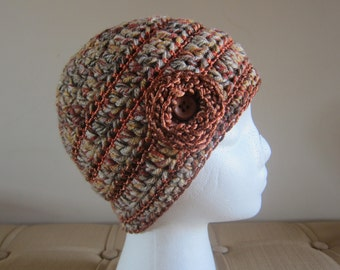 Crocheted Womans Hat with Flower, Sienna Beanie, Beanie for Women, Womans Wool Hat, Wool Hats for Women, Crochet Wool Hats, Winter Beanies