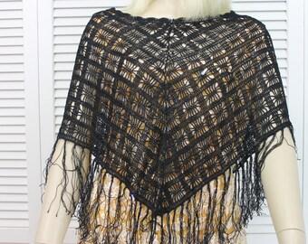 Vintage Black Crochet Poncho Style Shawl