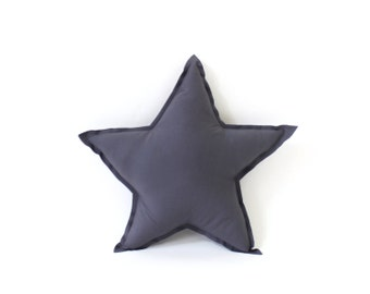 Star Pillow - decorative star shaped pillow in graphite grey, soft cotton