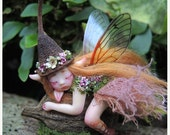 BIRTHDAY SALE Cute & Tiny Woodland Forest Fairy by Celia Anne Harris OOAK - Made to Order