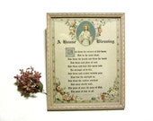 Vintage House Blessing Poem Motto Framed Lithograph Guiterman Housewarming New Home Gift