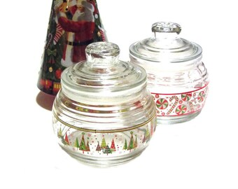 Christmas Jar Pair Holiday Candy Decorated Trees Design Clear Glass Lids Air Tight Seal Decor Stash Jars Treats Cookies Gifts