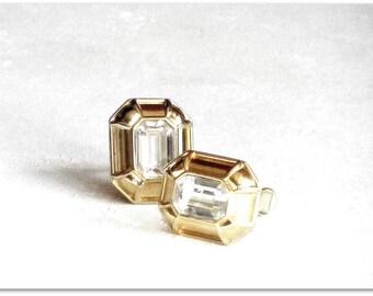 Vintage Crystal Clear Monet Rhinestone Earrings, Gold and Rhinestone Clip Earrings, Bold Dramatic Statement Earrings