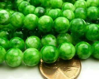 8mm Dark Green Round Glass Beads - Smooth, Shiny Beads - Mottled Mosaic Beads - 25pcs - BL38