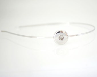 1 Hair Head Band - FITS 18MM Candy Snap Charm Jewelry Silver kb0551 CJ0431