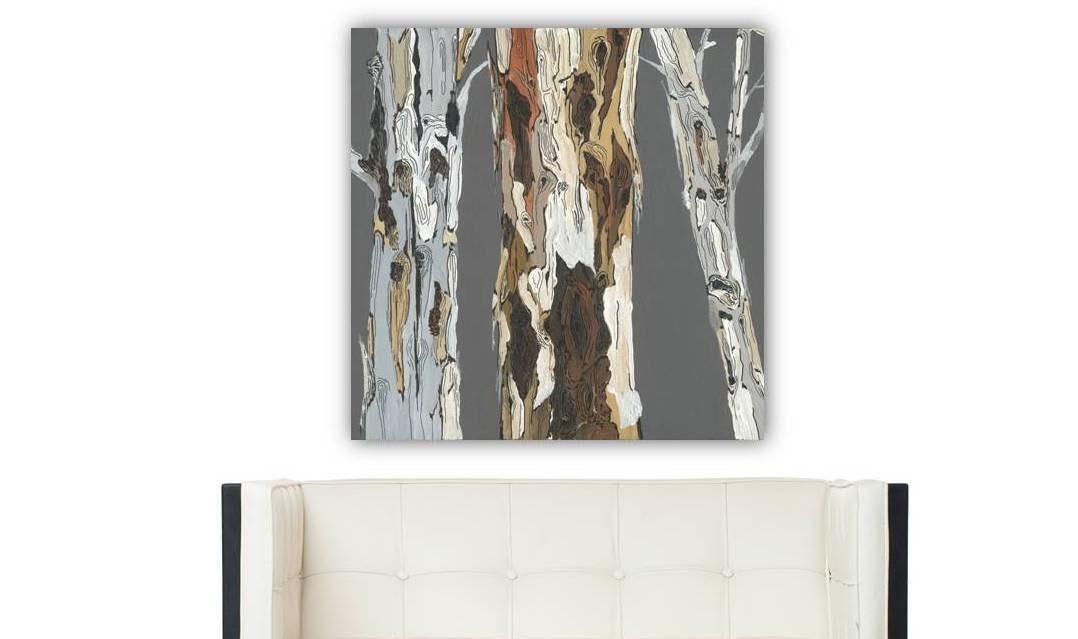 Canvas wall art print tree trunk gray brown artwork pastels for Tree trunk wall art