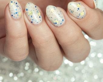 Pop, Fizz, Clink - custom white crelly gold navy holographic stars glitter nail polish