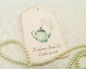 Personalized Favor and Thank You Tags-Wedding Bridal Tea Shower Favor Tags-Teapot Gift Tags-Set of 12