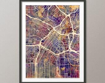 Los Angeles Map, Downtown Los Angeles California City Street Map, Art Print (2337)