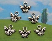 16  Bee Charm Antique Silver Tone 11 x 10 mm U.S Seller  -  ts917