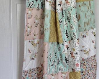 Baby Blanket, Baby Quilt, Toddler Quilt, Tulip, Mint, Gold,  Patchwork Quilt, Gender Neutral Baby Blanket