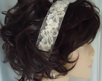 Ivory Bridal Lace Headband, Wedding Headpiece, Beaded Headband, Halo, Wreath, Beaded Lace Headband, Bridal Accessory