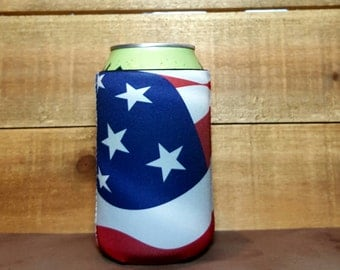 USA Flag Cozie American Flag Can Cooler Red White Blue Beer Cooler US Flag Soda Can Cooler