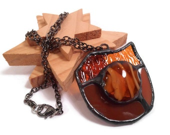 Stained Glass Jewelry Pendant Handmade Jewelry Necklace Glass and Metal Jewelry Amber Glass Necklace  Amber Shield Pendant Unique Gift Idea